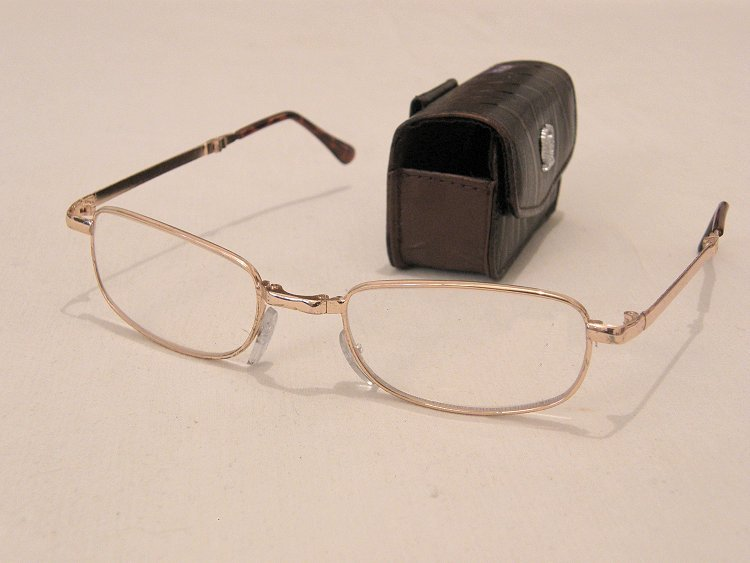 Leather Frame Reading Glasses : Travel size Folding reading glasses leather like case eBay